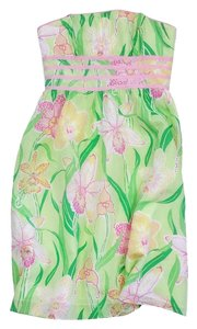 Lilly Pulitzer short dress Green Pink Floral Silk on Tradesy