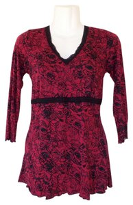 Style & Co Lace Floral Longsleeve Roses V-neck Top red, black