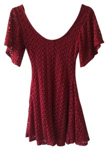 short dress Burgandy Lacy Red Sleeves on Tradesy