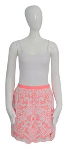 MILLY Embroidered Neon Mini Skirt pink