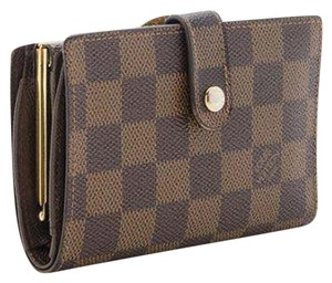 Louis Vuitton Damier Ebene French Kisslock Bifold Wallet with Coin Pocket