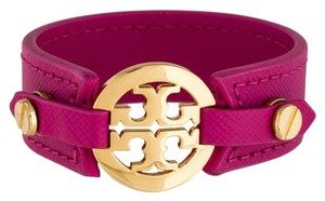 Tory Burch Pink, Gold Leather Tory Burch Reva Logo Cuff Bracelet