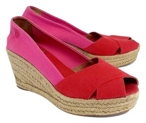 Tory Burch Red & Pink Canvas Espadrille Wedges