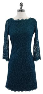 Diane von Furstenberg short dress Teal Long Sleeve Lace on Tradesy