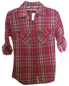 Super Dry Button Down Shirt Red checkered