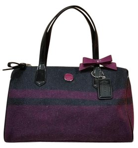 Coach Satchel in black and fuschia