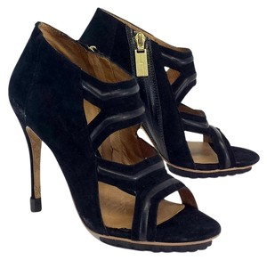 L.A.M.B. Black Suede Leather Sandals