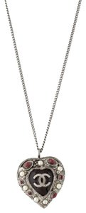 Chanel Silver-Tone Chanel interlocking CC heart pendant necklace