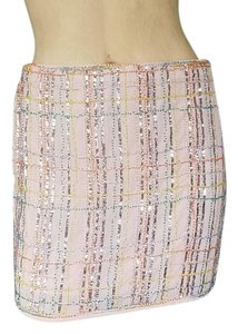 English Rose Mini Beaded Plaid Sequin Mini Skirt Beige