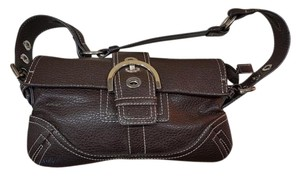Coach Women Leather Chocolate Brown Clutch