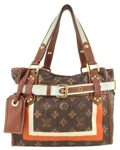 Louis Vuitton Gold Hardware Logo Leather Tote in Brown
