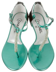 Chanel Interlocking Cc Embellished Green, Black, Silver Sandals