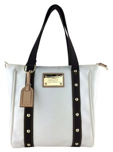 Louis Vuitton Gold Hardware Logo Tote in White