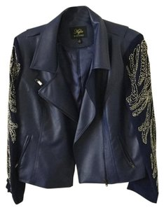 Kyle by Kyle Richards Kyle Richards Farrah Beaded Sleeve Faux Leather Moto Jacket