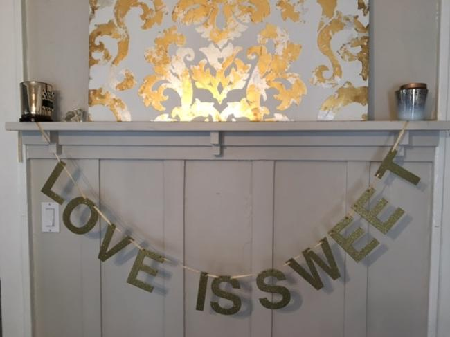 Item - Shimmery Gold Love Is Sweet Banner Reception Decoration