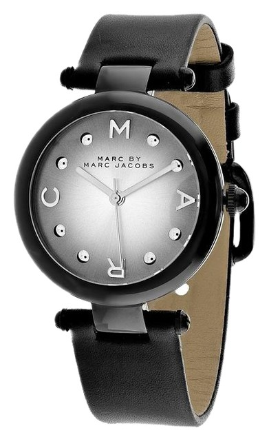 Marc by Marc Jacobs White/Pink Mj1410 Black Leather Watch Marc by Marc Jacobs White/Pink Mj1410 Black Leather Watch Image 1