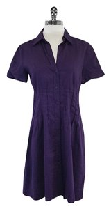 Theory Purple Linen Short Sleeve Dress