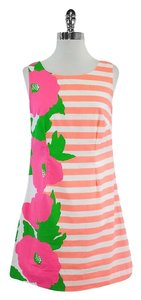 Lilly Pulitzer short dress Neon White Striped Floral on Tradesy