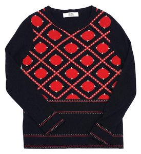 Prabal Gurung Black Red Gold Wool Sweater