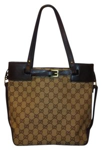 Gucci Web Vintage Bucket Monogram Tote in Brown