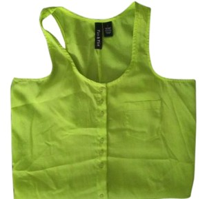 Bright Buttonup Top Neon Lime