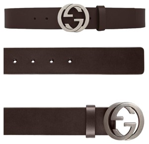 Gucci GUCCI LEATHER BELT WITH INTERLOCKING G BUCKLE