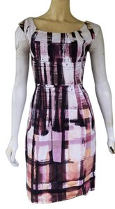 Maggy London short dress Pink Black Pockets Exposed Zipper Cotton Blend Abstract Sleeveless on Tradesy