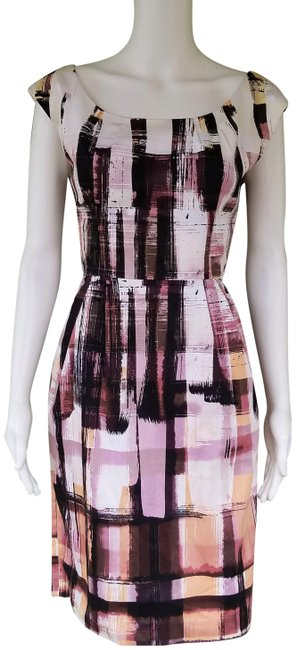 Item - Pink Black Exposed Zipper Abstract Knee Length Short Casual Dress Size 6 (S)