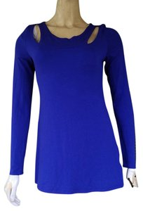 Nicole Miller Studs Cut-outs Jersey Top Blue