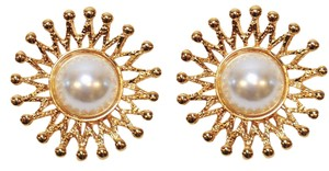 St. John ST. JOHN VINTAGE EARRINGS CLIP-ON FAUX PEARL & 22K GOLD PLATED SIGNED