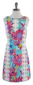 Lilly Pulitzer short dress Multi Color Floral Cotton Sleeveless on Tradesy