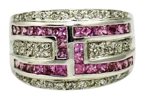 Diamond and Pink Sapphire White 14k Gold Ring,