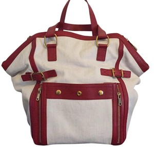 Saint Laurent Satchel in White/Red