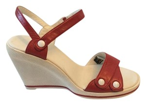 Charles Jourdan White w/Red Wedges