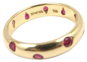 Tiffany & Co. Vintage Tiffany & Co Etoile 18K Yellow Gold Ruby Eternity Band Ring