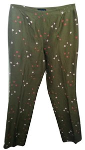 Ann Taylor Straight Pants Green Asian Floral