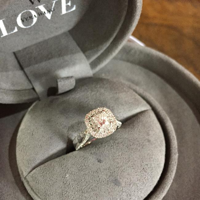 Item - 14k White Gold Diamonds and Sapphires Engagement Ring