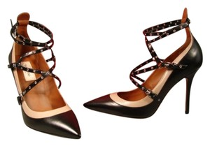 Valentino New Point Toe Adjustable Strap & Leather Black & Tan Pumps