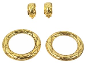 Chanel Gold Quilted Hoop Huggie Earrings