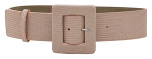 Alice + Olivia Nude Lip Leather Snakeskin Buckle Belt