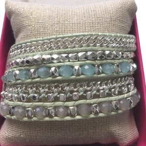 Mythologie Mythologie Green Leather Crystal and Pearl Bracelet