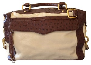Rebecca Minkoff Satchel in Cream Leather with Ostrich Leather Trim