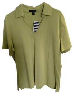 Lands' End T Shirt Chartreuse and white stripes