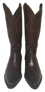 Justin Dark Brown Lizard Boots