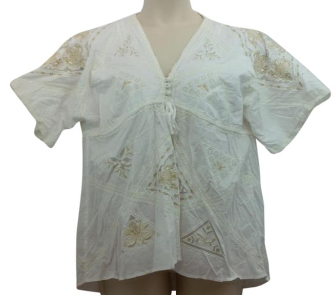 Item - L Embroidered White Cotton Blouse Size 12 (L)