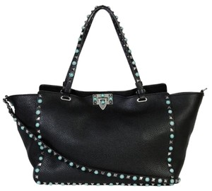 Valentino Brand New Turquoise Tote in Black