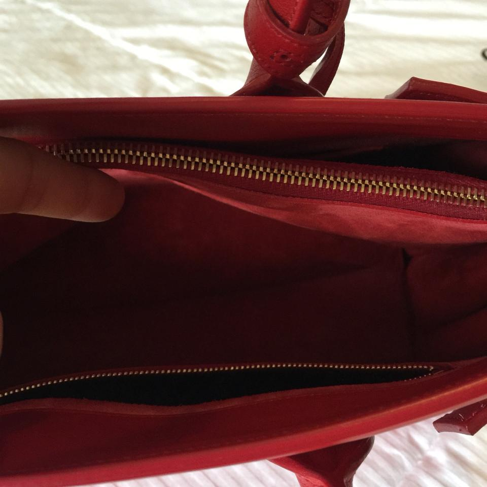Leather Sac Tote Jour de Red Satchel Saint Laurent Classic 0qvx1R8