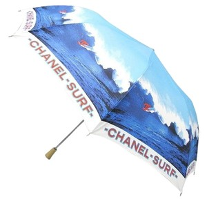 Chanel CHANEL SURF RESORT BLUE RED FOLDING LARGE UMBRELLA SUN BEACH PARASOL