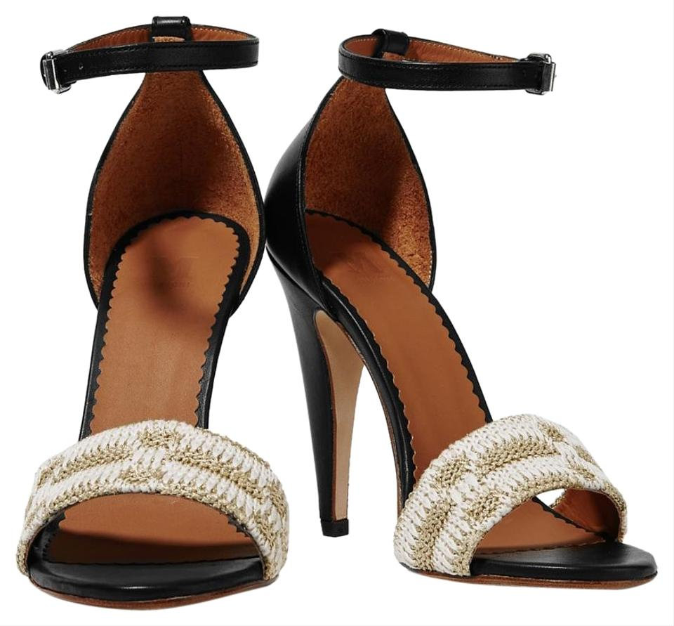 477ea4cb0a6 M Missoni Black with White and Gold Ankle Strap Crochet-knit Sandals ...