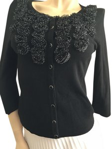 White House | Black Market Whbm Ruffles Sweater Polka Dot Button Down Shirt Black